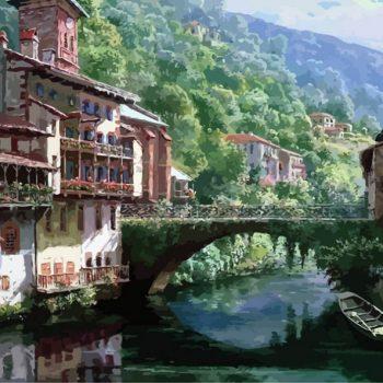 zhivopis-na-kholste-drevnij-most-cherez-niv